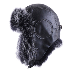 Image 2 - VINTAGE BOMBER หมวก Faux Fox ขนสัตว์นักบิน Aviator Trooper หนัง Earflap รัสเซีย Ushanka Men ฤดูหนาว WARM Plush Snow สกีหมวก