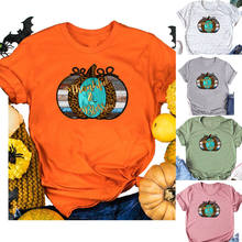 Women Thankful Blessed Leopard Pumpkin Floral Casual Funny Streetwear Ladies Tee Top Short Sleeve Slogan Hipster T-Shirt(China)