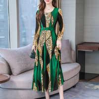 Bureau dame robe femmes printemps 2019 à manches longues o-cou élégant Floral imprimer robes de soirée robes