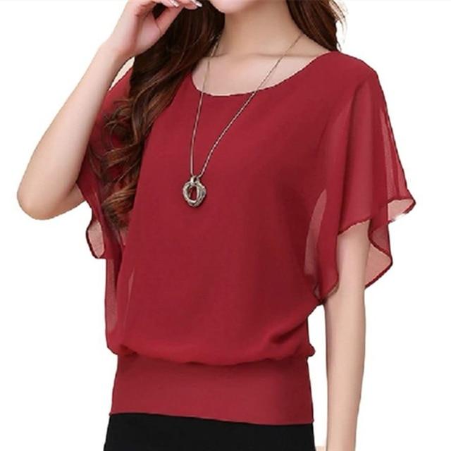 Summer Casual Short Sleeve Women Blouse 5XL Plus Size Chiffon Blouses Beach Shirt Office Work Loose Shirts Blusas Feminina Tops 2