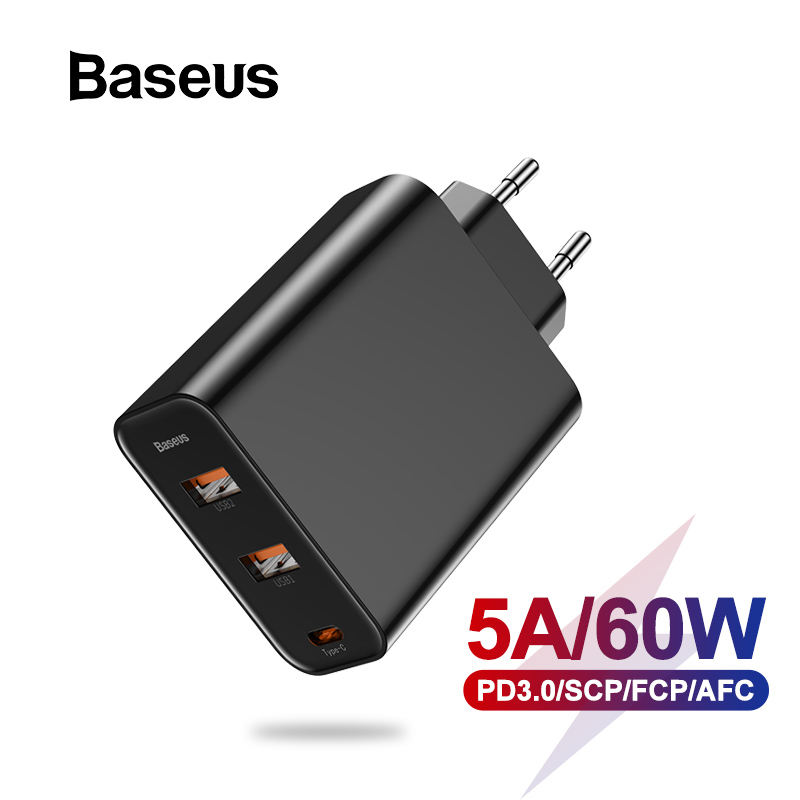 Baseus 3 Ports <font><b>USB</b></font> <font><b>Charger</b></font> with PD3.0 Fast <font><b>Charger</b></font> For iPhone 11 Pro Max Xr <font><b>60W</b></font> Quick Charge 4.0 FCP SCP For Redmi Note 7 Huawei image