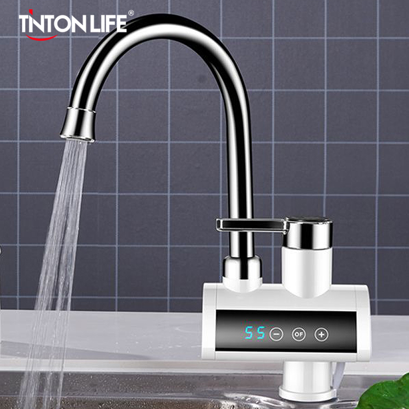 Electric Hot Water Heater Instant Tankless Faucet Kitchen 360° Rotatable Heating Tap Water Heater With LED Temperature Display