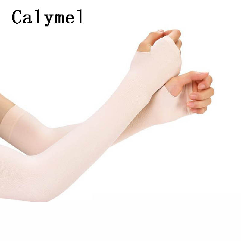 Calymel New Outdoor Sun UV Protection Hand Protector Cover Ice Silk Sunscreen Sleeves Arm Warmer Sleeves Long Gloves