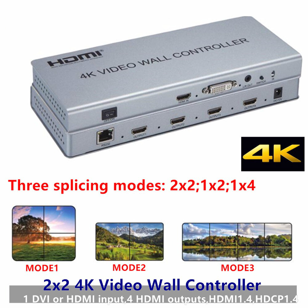 2x2 4K 1080P HDMI Video Wall Controller Adapter LCD Digital TV Hdmi DVI Wall Processor 3ways Splitter For Display Equipment HDTV