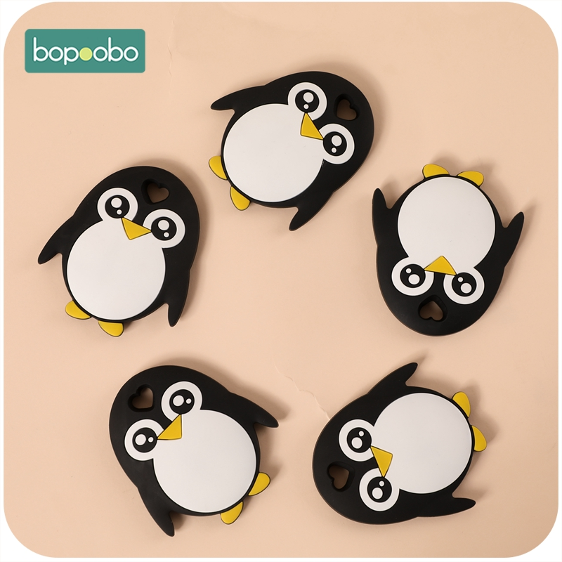 Bopoobo Baby Chewable Nursing Teething Baby Holding Teether Bpa Free Silicone Penguin 10PCS Teether Accessory  Newborn Products