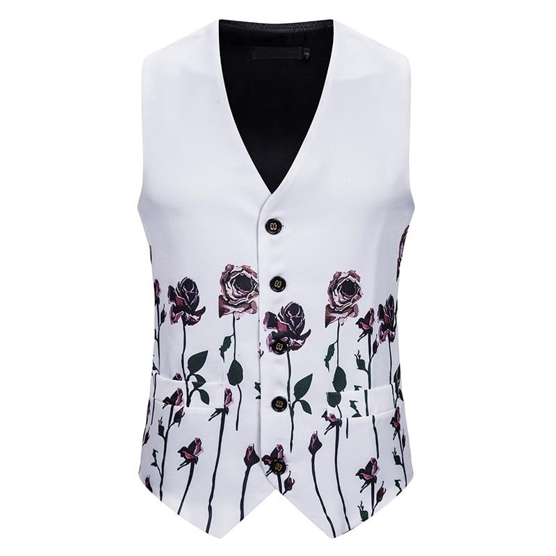 White Rose Floral Vest Men 2019 Brand Slim Fit Single Breasted Vest Waistcoat Men Business Casual Vest Wedding Tuxedo Vests Male