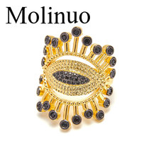 Molinuo new fashion lucky evil eye eyelash ring CZ adjustable exaggerated two-color luxury female jewelry