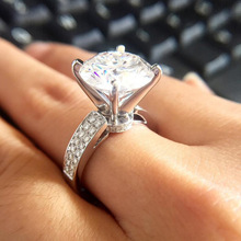 Простой классический роскошный женщин 925 стерлингов серебряные блестящие Циркон кольцо для свадьбы ювелирные изделия аксессуары