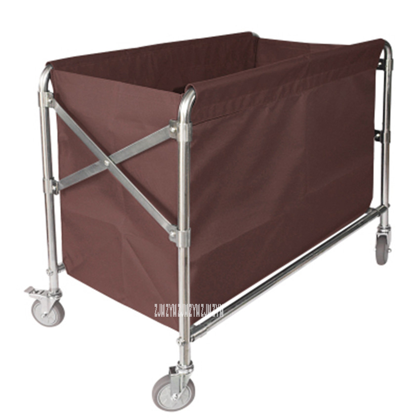BCC01 Room Service Folding Trolley Stainless Steel Hotel Clean Storage Car Dirty Clothes Cart Cleaning Work Folding Storage Car