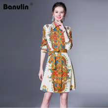 Banulin Autumn Fashion Runway Long Sleeve Dress Women's Front Self Tie Belted Retro Floral Printed Elegant Vintage Short Dress