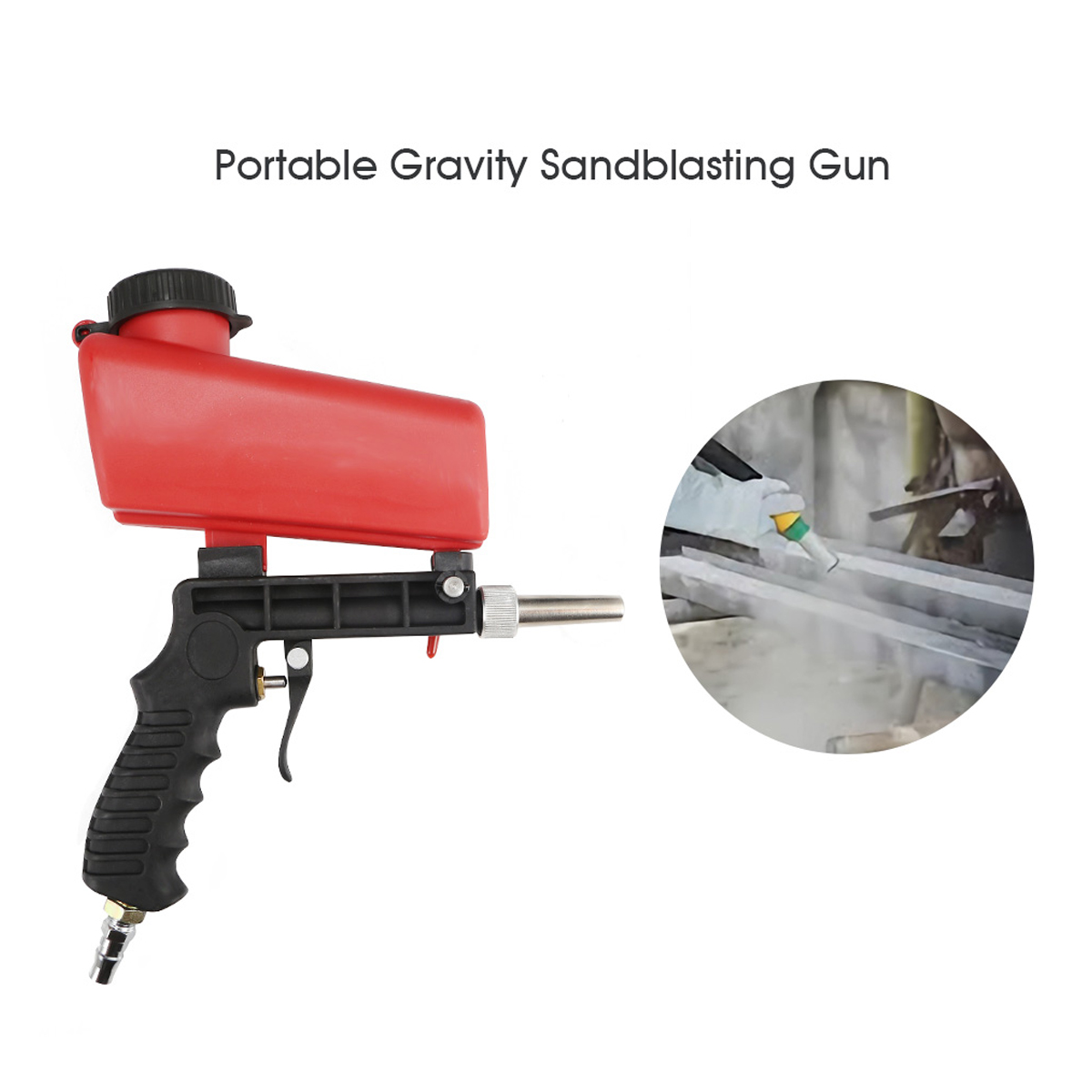 Image 4 - 90psi Portable Gravity Sandblasting Guns Aluminium Pneumatic Sandblaster Spray Guns Sand Removal Blasting Power MachineSpray Guns   -