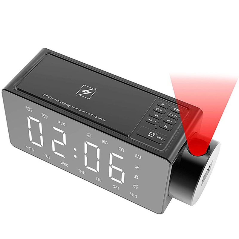 EASY-Projection Alarm Clock Bluetooth Speaker With Wireless Charging Diy Ringtone,One-Click Snooze,Bluetooth Call Speaker,Fm Rad