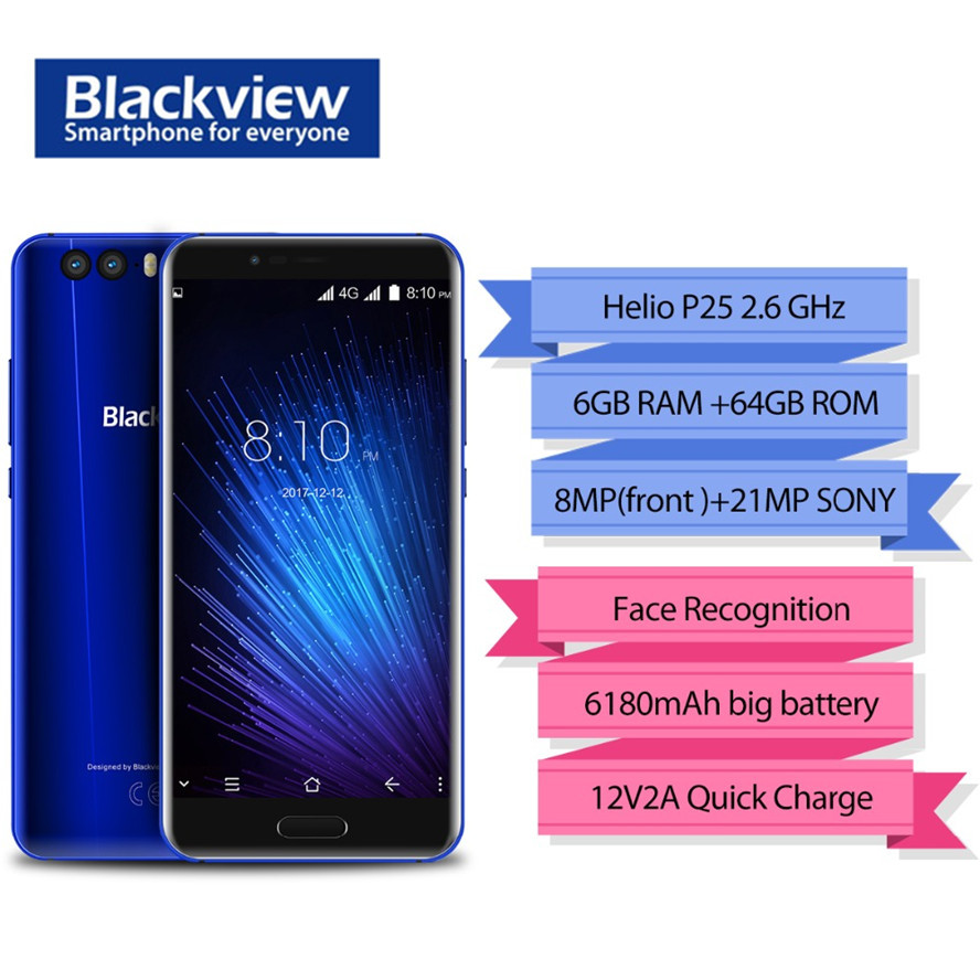 Blackview P6000 Face ID Smartphone Helio P25 6180mAh Super Battery 6GB 64GB 5.5