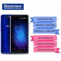 "Blackview P6000 Gesicht ID Smartphone Helio P25 6180mAh Super Batterie 6GB 64GB 5.5 ""FHD 21MP Dual cams Android 7,1 4G handy"