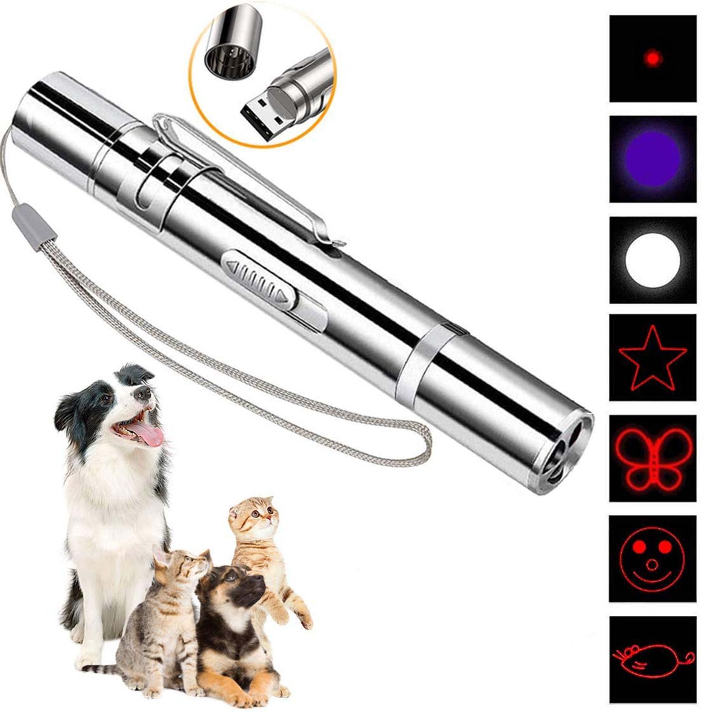 7 En 1 USB de carga LED puntero láser rojo UV linterna pluma gato puntero láser herramienta de entrenamiento para gato perro caza juguetes láser