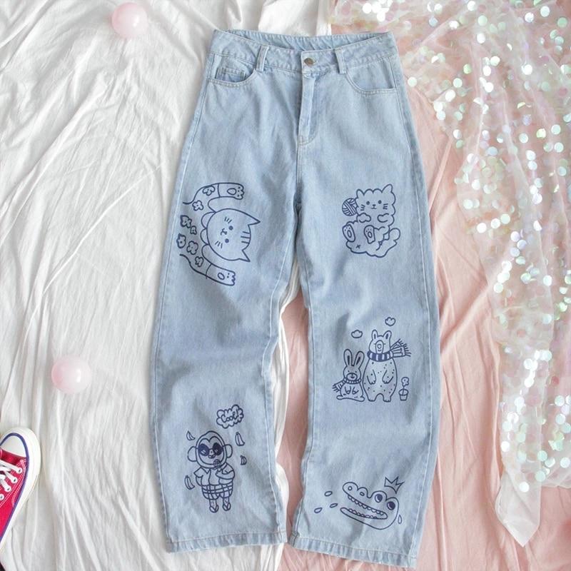 Модные Хлопковые женские джинсы в стиле Харадзюку, прямые джинсовые брюки с высокой талией, милые джинсовые брюки с вышивкой в виде щенка дл...