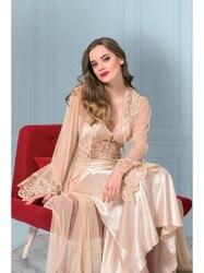 Для снов 4977 Джульетта длинный Тюль Ruched Evde сексуальная ночная рубашка халат 2 шт костюм Размеры S M L XL