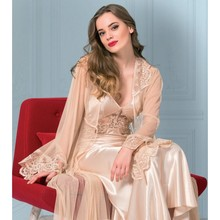 Women Nightgown Dressing Gown Suit Satin Lace Long Dress 2 Piece Back Low Back Comfortable Bed Horse Home Wearable Lingerie sexy S