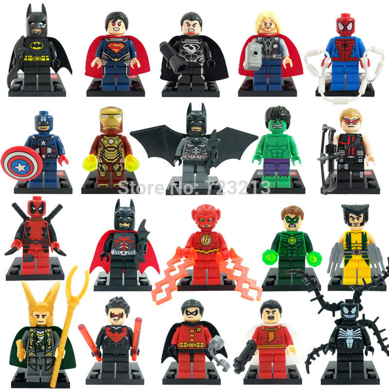 Single Classic Super Hero Figure Wolverine Thor Loki Iron Hulk Man Deadpool Arrow Bricks Building Blocks Set Model Toys Legoing