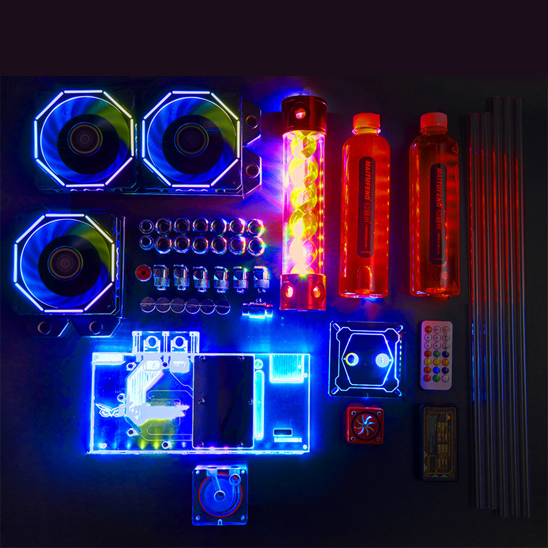 Computer Case Radiator Water Cooling System Water Cooler DIY RGBL Water-cooled Hard Pipe Set (Double Copper Bar 240 + 120)