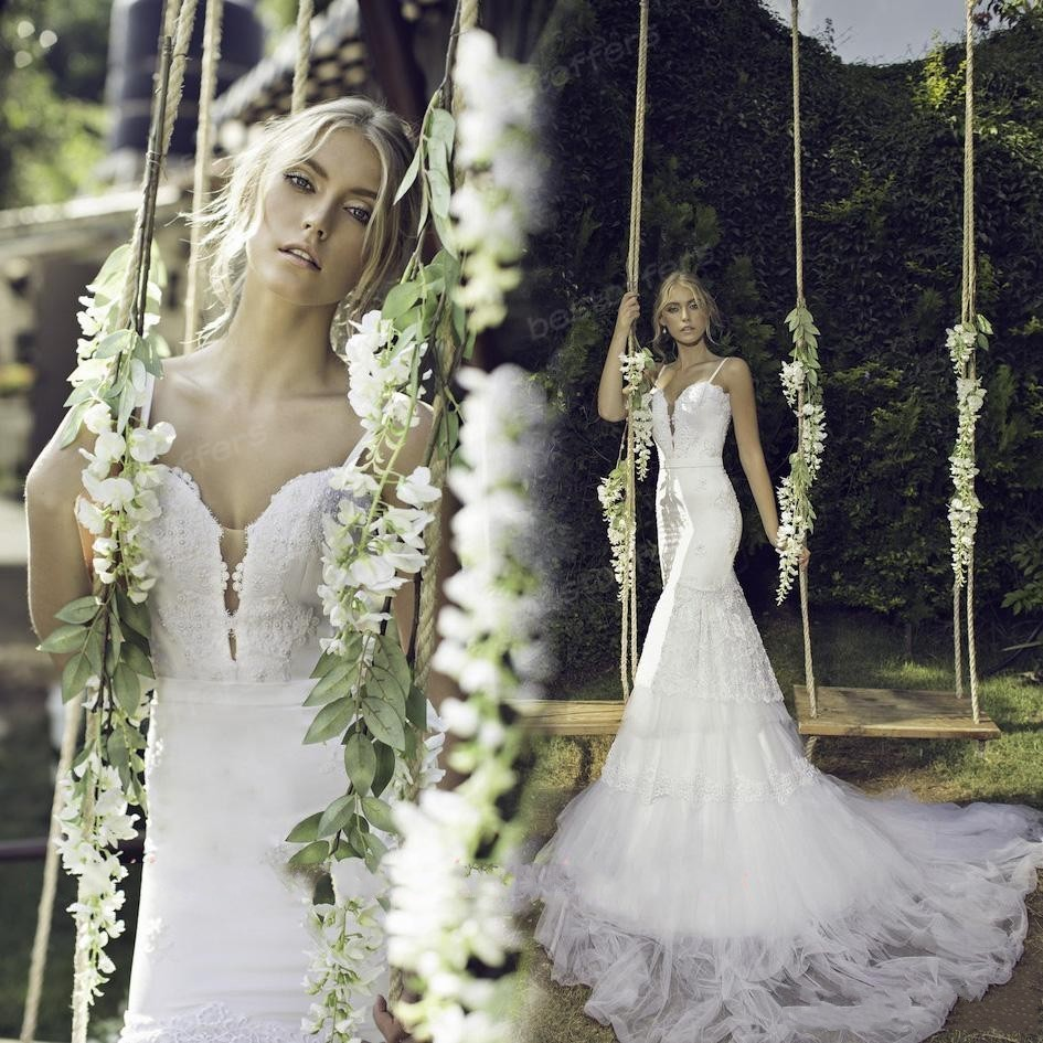 Vestido De Noiva 2015 Sexy Open Back Garden Wedding Dress Spaghetti Straps Sleeveless Lace And Tulle Chapel Train Bridal Gown