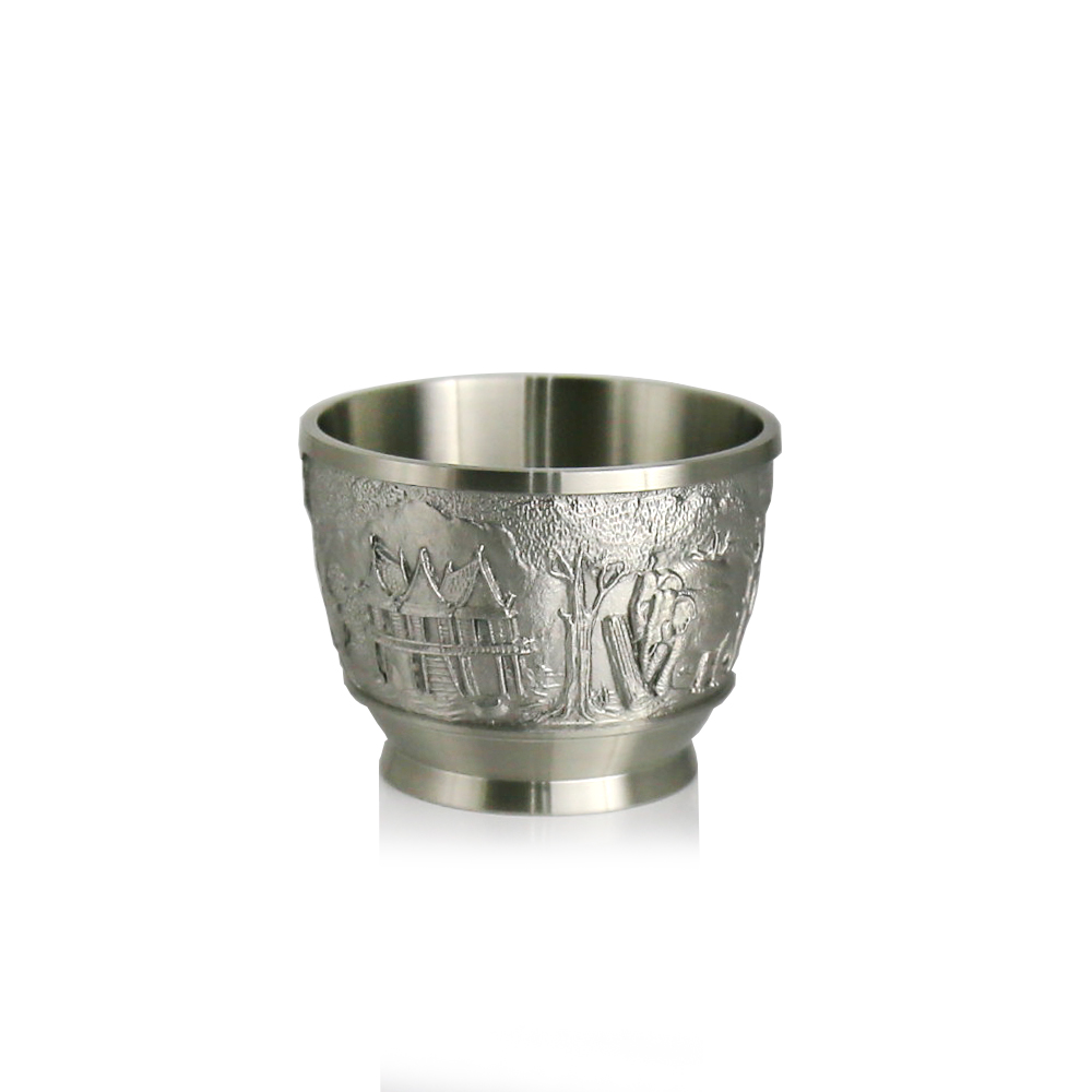 Oriental Pewter   Liquor Cup Pewter CP4 Pure Tin 97% Lead Free Hand Carved Beautiful Embossed Made in Thailand|Water Bottle & Cup Accessories|Home & Garden - title=