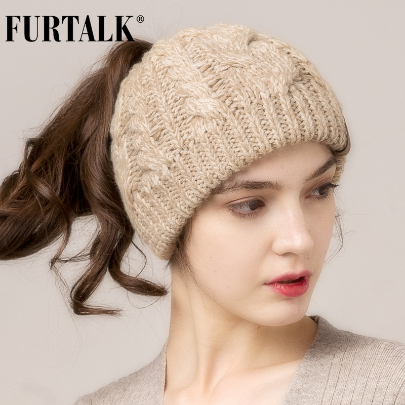 FURTALK Winter Ponytail Beanie Hat For Women Knitted Messy Bun Ponytail Hat Ladies Outdoor Runner Sports Hat For Female