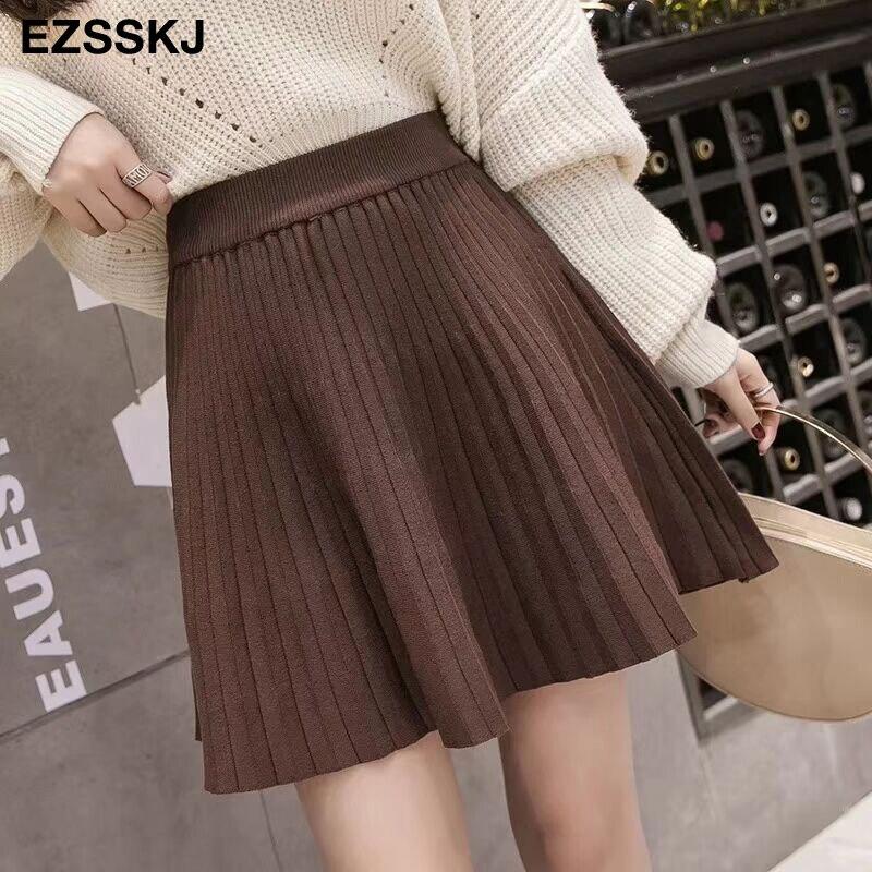 Image 3 - 2019 autumn Winter sweet short sweater sun skirt women A line skirt umbrella skirt female high waist  knit bottom mini skirt-in Skirts from Women's Clothing
