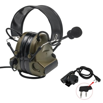 Tactical electronic shooting headset COMTAC II headset military noise reduction headset+tactical PTT U94-PTT intercom adapter FG tactical comtac ii anti noise sound amplification electronic noise reduction shooting headphones and tactical ptt u94 ptt de