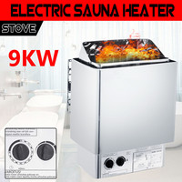 9KW Electric Sauna Heater SPA Stove Wet & Dry Stainless Steel Internal Control Efficient Home