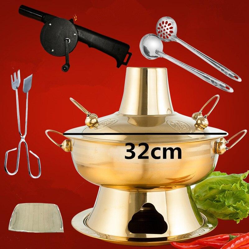 2.8л нержавеющая сталь горячий горшок китайский фондю ягненок уголь горячий горшок Открытый плита Пикник жаровня блюдо уголь золото горячий горшок - Цвет: Golden 32cm