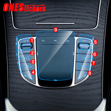 Dla Mercedes Benz E klasa W213 klasy C W205 GLC X253 konsola główna samochodu Multimedia przycisk myszy osłona z TPU akcesoria foliowe tanie tanio ONESTICKERS CN (pochodzenie) AJLS119 Iso9001 Top-quality TPU Wnętrza listwy 2019 2020+ Original car size HD Transparent
