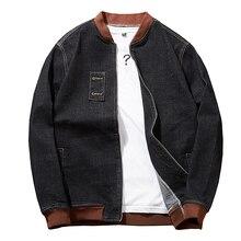 Plus rozmiar 8XL 7XL moda z kapturem Casual płaszcze bawełniane nowy jesienno zimowy styl Preppy Slim Fit fałszywe dwa kawałki kurtka dżinsowa mężczyzn