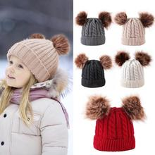 купить Kids Winter Warm Hats Boys Girls Knitted Beanie Cap Thick Baby Bonnet Cute Double Pompon Fur Caps Infant Knitted Hats Dropship дешево