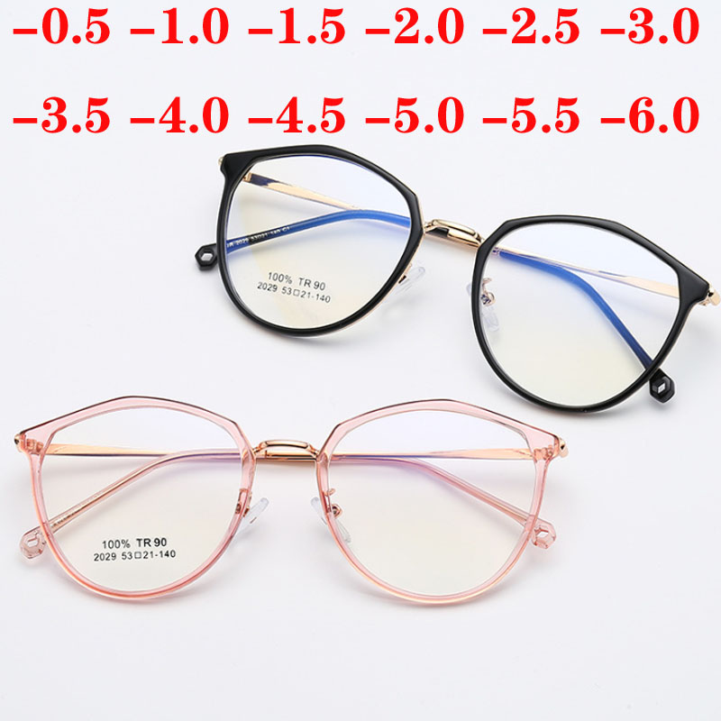 Metal Polygon Finished Myopia Glasses Women 1.56 Aspherical Lens Customize Prescription Eyeglasses Men 0 -0.5 -0.75 -1.0 To -6.0