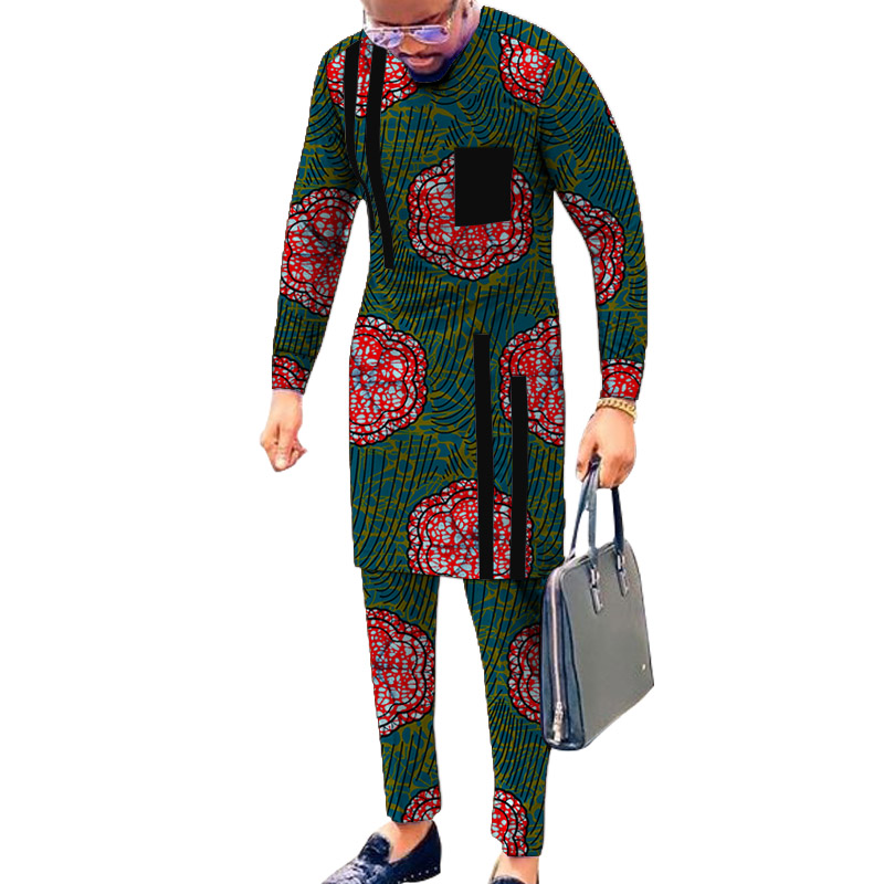 Black Strip Tops Breast Pocket Design Patchwork Shirts+Trousers African Print Men's Outfits Male Groom Suits Ankara Pant Sets