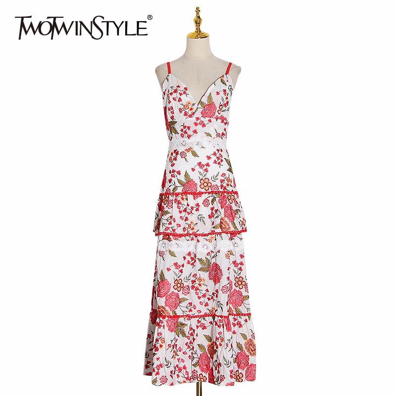 TWOTWINSTYLE Bohemian Print Floral Dresses Women Spaghetti Strap Patchwork Lace Sexy Midi Dress Female 2020 Summer Fashion New