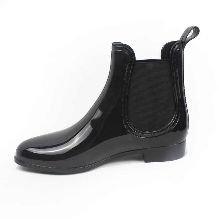 Neue Gummi Stiefel für Frauen PVC Ankle Regen Stiefel Wasserdicht Trendy Gelee Frauen Boot Elastische Band Regnerischen Schuhe Frau 2019