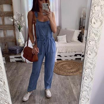 women sexy spaghetti strap sleeveless wide leg jumpsuit summer elegant solid casual rompers pockets playsuits loose overalls Spaghetti Strap Women Denim Jumpsuit Loose Casual Straight Bib Jeans Overalls Rompers Drawstring Pocket Blue Wide Leg Jumpsuit
