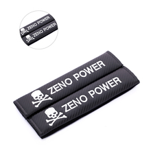 Universal 2Pc Skull Zeno Power Carbon fiber seat belt cover shoulder pad JDM Racing ST MOMO MOPAR car styling accessories