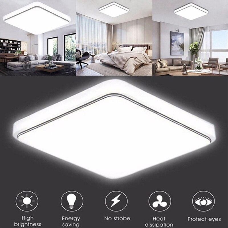 โคมไฟเพดาน LED โคมไฟโคมไฟสแควร์โมเดิร์นออกแบบสำหรับห้องนอนห้องครัวห้องนั่งเล่น Ultra บางแสงลง ...