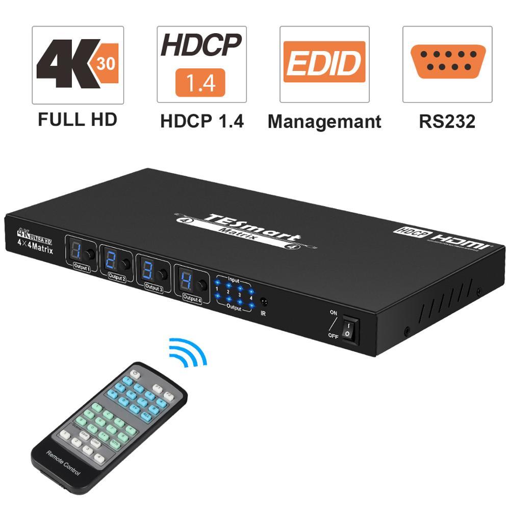 4x4 entradas da matriz 4x4 de hdmi do divisor do interruptor de hdmi 4 portas e 4 saídas do porto com os apoios rs232 ultra hd 4k x 2k @ 30hz, hdcp1.3, 3d