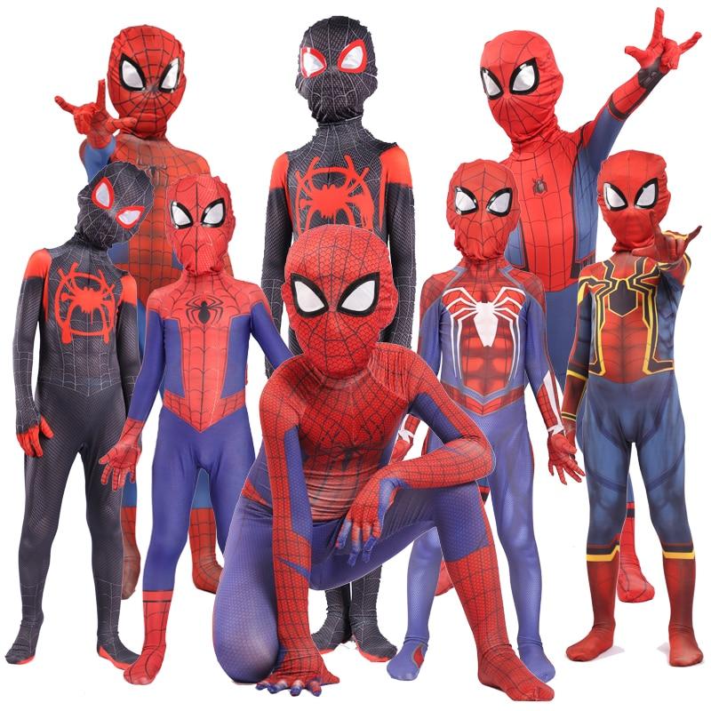 2019 Miles Morales Spiderman 3D Print Costume Adult Kids Boys Spider Man Cosplay Costume Superhero  Halloween Costume For Kids