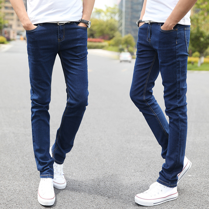 Autumn And Winter New Style Jeans Men's Slim Fit Men's Trousers Korean-style Trend Elasticity Versatile Men Skinny Trousers Men'