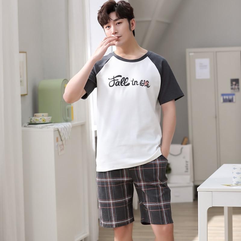 NANJIREN Mens Pajamas Set Summer Home Casual Plaid Shorts Short Sleeves O-NECK Shirt Pajamas Set for Men Cartoon Sleep Wear