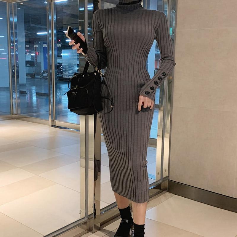 Весеннее женское трикотажное платье с воротником-хомутом и пуговицами, женское эластичное обтягивающее платье-свитер, повседневное длинное платье Vestidos - Цвет: gray