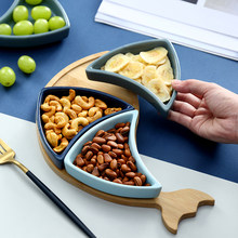 Nordic simple ceramic plate snack nut tray Creative Western Food Flat Dish Christmas plate snack plate(China)