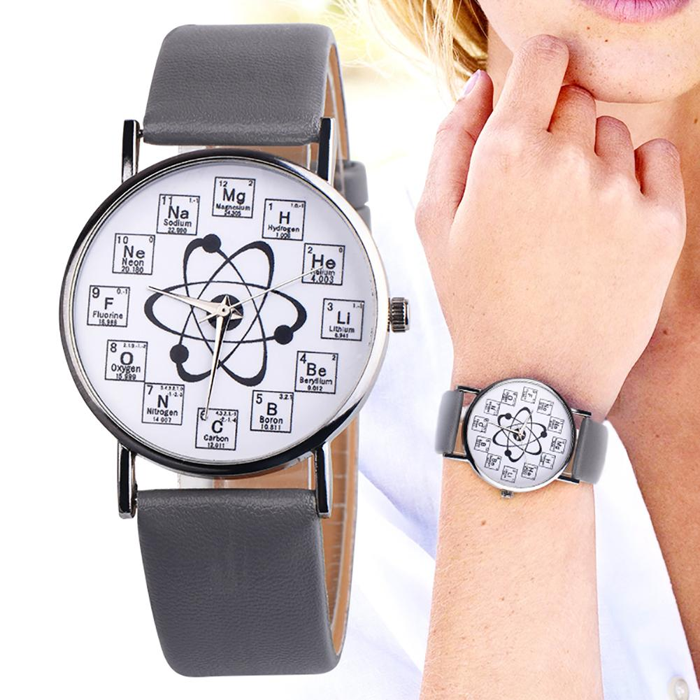 Women Leather Watch Luxury Analog Quartz Watch Unisex Chemical Element Markers Designed Molecule Pattern Female Wristwatch