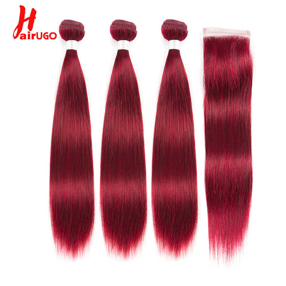 HairUGo Brazilian Hair Weave Straight Human Hair Bundles With Closure Honey Blonde Burgundy Ombre Hair Bundles With Closure Remy