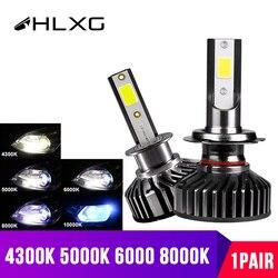 hlxg H4 LED H7 Car Headlights HB3 HB4 LED  H11 Auto Front Fog Lights Near Far diode lamps for cars 12V 10000LM 4300K 6000K 8000K
